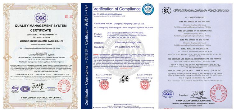 16mm armoured cable 3 core manufacturer's certificate